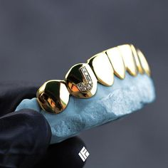 "Custom Yellow Gold Bottom 8 Grills With Iced Out Letter ""J"" Specially made for Girl Grillz, Grillz For Girls, Gold Slugs, Custom Grillz, Tooth Gem, Grills Teeth, Gold Teeth, Mens Toys, Body Jewelry"