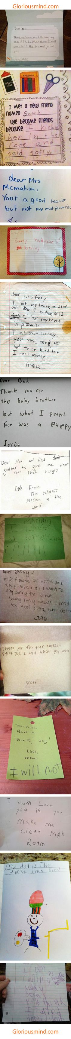 Funny notes from children, it's worrying how many of these could easily be something my boyfriend would say...