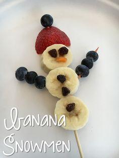 Adorable Banana Snowman Snack for Tot School Tuesday: SNOW ideas for your toddler or preschooler {from Mrs. Plemons' Kindergarten}