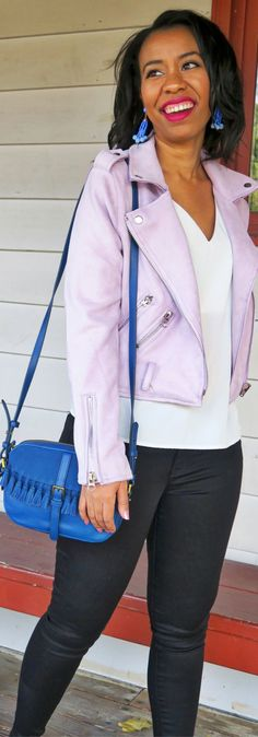 Who else is loving this moto jacket? See two ways to casually style a lilac moto jacket plus some of the best moto jackets for fall. // best jackets to have for fall 2017, how to wear a moto jacket, fall outfit with moto jacket, fossil kendall crossbody, sugarfix by baublebar jewelry, how to dress up closet staples, mott & bow jeans, tom ford velvet violet lipstick, suede moto jacket fall casual weekend outfit, best moto jackets under $50