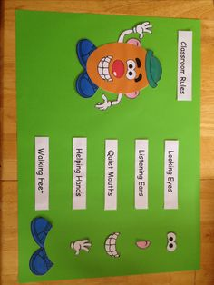 Classroom Rules - Mr Potato Head - I would add a caring heart as well.