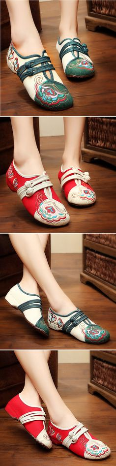 US$19.89  Vintage Chinese Embroidered Flower Mary Janes Buckle Casual Flat Loafers