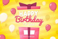 Flat design happy birthday background with gift Free Vector Birthday Background, Vector Photo, Newsletter Templates, Flat Design, Vector Free, Badge, Happy Birthday, Projects, Gifts