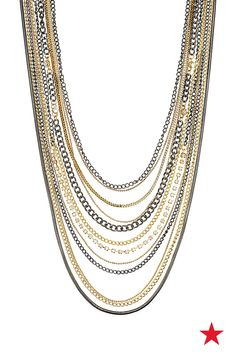 This Multi-Row Necklace will have you draped in style all evening long. Try it on with your favorite night-out dress and a sexy pair of strappy sandals