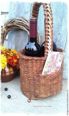 Купить Плетеный короб для вина In vino veritas - коричневый, для дома и интерьера, плетение из бумаги