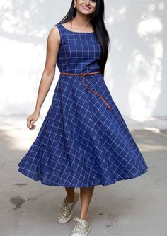 Blue Check Midi Dress with Belt - 2019 Purple Quality Water Soluble Embroidery Lace Fabric Long Gown Dress, Frock Dress, The Dress, Simple Frocks, Casual Frocks, Kalamkari Dresses, Ikkat Dresses, Indian Designer Outfits, Designer Dresses