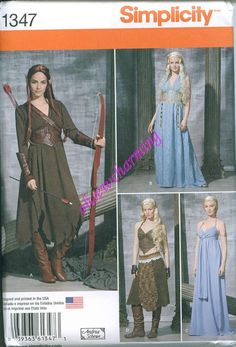 This is a beautiful costume sewing pattern designed by Simplicity. Gorgeous costumes styled and made to look like those worn by Daenerys in The