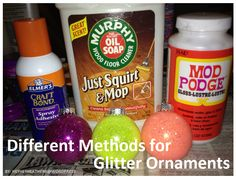 Different methods for making DIY Glitter ornaments and the reviews for each! I'm returning the floor polish and sticking with my adhesive spray :)