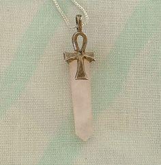 Rose Quartz Ankh Pendulum Sterling Silver Pendant Necklace Egyptian Cross Jewelry