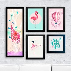 Kit Girafa Flamingo - Encadreé Posters