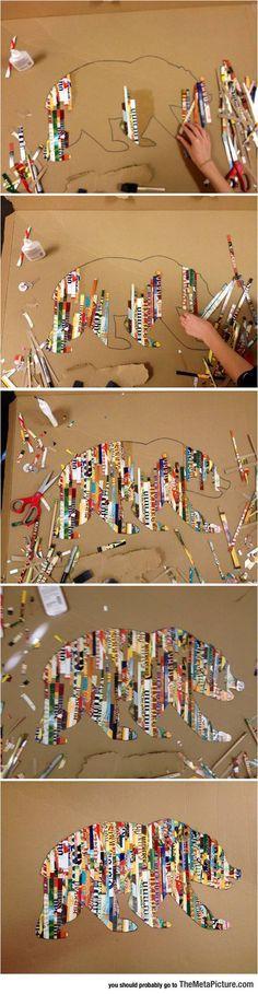 Paper Strip Art : Excelente idea para un proyecto en que los estudiantes seleccionen la imagen y la describan con todo el proceso paso a paso usando español con palabras de transicion compuestas y tiempos perfectos.