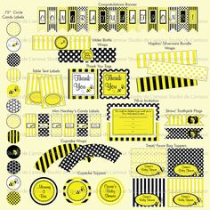 PRINTABLE Bee Theme Baby Shower or Birthday Party by DeLamour