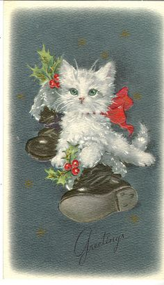 Christmas cat with boots ... vintage post card.