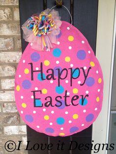 Easter Egg Burlap Door Hanger. $30.00, via Etsy.