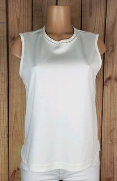 76298d4a252ab BON WORTH Womens Size Small Petite Sleeveless Shirt Ivory Poly Cotton Top  A11  fashion