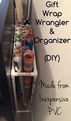 DIY project to organize gift wrap Gift Wrap Organizer and Wrangler! DIY Project Made from PVC. Organize your wrapping paper! Pvc Pipe Crafts, Pvc Pipe Projects, Craft Paper Storage, Craft Organization, Diy Wrapping Paper Storage, Organizing Ideas, Gift Wrap Storage, Diy Storage, Pvc Pipe Storage