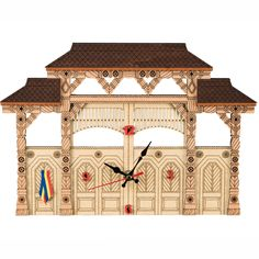 THE MARAMURES GATE Wooden clock with traditional motifs