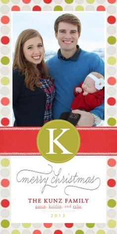 Simple Monogram Christmas TEMPLATE: 113843 By Kelsi Kunz 4 x 8 Photo Card This simple yet elegant card is a great way to spread holiday cheer. Personalize with your favorite family photo and family names.