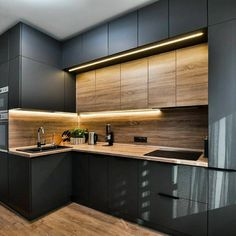 The 27 best black kitchens kitchen trends you need to see 5 Luxury Kitchens BLACK Kitchen Kitchens Trends New Kitchen Interior, Modern Kitchen Interiors, Kitchen Room Design, Kitchen Cabinet Design, Modern Kitchen Design, Home Decor Kitchen, Home Interior Design, Home Kitchens, Black Kitchens