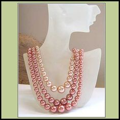 Vintage Pink Pearl Necklace Soft Satin Shades 3 Strands 1950s Jewelry