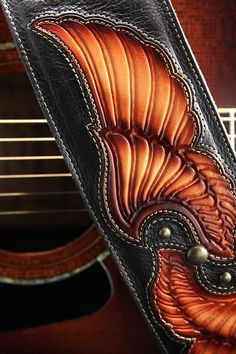 ON SALE Guitar Strap brown leather guitar by EthosCustomBrands