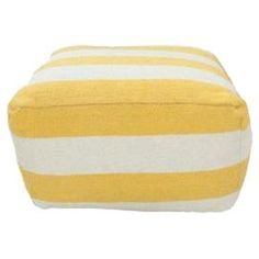 """This handmade striped pouf brings a pop of color and versatile style to your decor, whether as an ottoman, offering guests an extra seat, or creating a cozy reading nook.   Product: PoufConstruction Material: Wool and cottonColor: LemonFeatures: Handmade in IndiaDimensions: Small: 18"""" H x 18"""" W x 18"""" DLarge: 13"""" H x 24"""" W x 24"""" DCleaning and Care: Spot clean"""