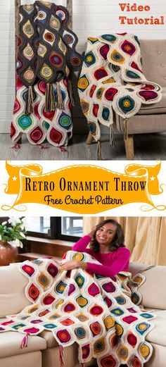 Retro Ornament Throw Blanket Free Crochet Pattern and Video Tutorial