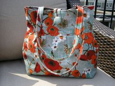 Pleated Hobo Shoulder Everyday Bag  Large Poppies in by Joanna1966, $35.00