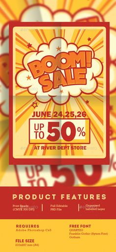 Retro Boom Sale Promotion Flyer Template PSD. Download here: http://graphicriver.net/item/retro-boom-sale-promotion-flyer/16670132?ref=ksioks