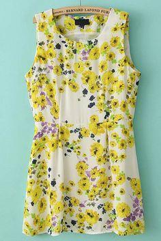 Robe caraco à imprimé chrysanthème -Jaune  EUR€24.29