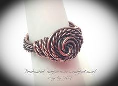 Enchanted copper wire wrapped swirl ring by JCLwire on Etsy Wire Jewelry Rings, Copper Jewelry, Fine Jewelry, Jewelry Making, Copper Wire, Jewlery, Ankle Jewelry, Diy Jewellery, Wire Wrapped Bracelet