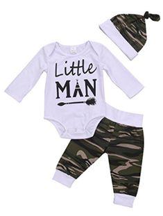 df32fa99f 3PCS Newborn Baby Boys Cute Letter Print Romper+Camouflage Pants+Hat  Outfits Set