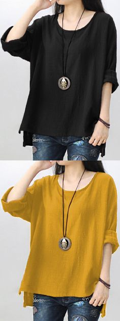 Casual Pure Color Long Sleeve High Low Blouse For Women