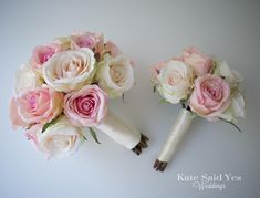 A sweet pair of rose bouquets for a bride and her maid of honor. Love this combination of blush and peach! Silk wedding bouquet by Kate Said Yes Weddings! Silk Wedding Bouquets, Corsage Wedding, Wedding Flowers, Corsage And Boutonniere, Simple Flowers, Bridezilla, Floral Crown, Wedding Planning, Wedding Ideas