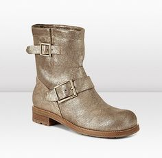 Jimmy Choo - Youth - 124youthgrml - Gold Coarse Metallic Leather Biker Boots - Youth are an essential ankle boot for daytime. Biker style ankle boots in gold metallic leather with on trend coarse texture.