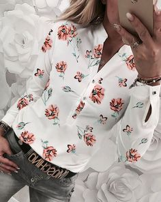 Women V Neck Floral Casual Blouse Casual Tops, Casual Shirts, Party Dresses Online, Mein Style, Ruffles, Pattern Fashion, Work Wear, Summer Outfits, Kimono