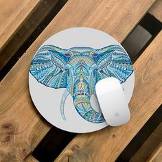 Round Mouse Pad Elephant Mouse Pad Vintage Mousepad Office Home Decor Computer Electronic Leather Mo