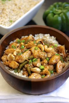Healthy Cashew Chicken With Brown Rice