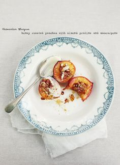 Honey Roasted Peachers with Almond Praline and Mascarpone / What Kate Ate #dessert #food #sweet