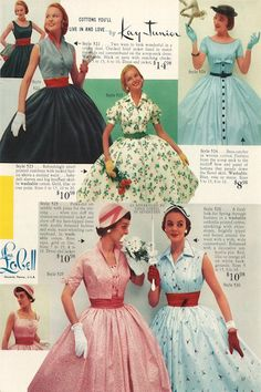 Dresses Lana Lobell manufactured womens clothing, in New York City's garment district. Her dress catalogs, which are a rarity today, market. 1950s Fashion Dresses, Retro Fashion, Vintage Dresses, Vintage Outfits, Vintage Fashion, 1950s Dresses, Club Fashion, Dress Fashion, Vintage Clothing