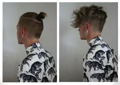 The man bun Undercut hairstyle is a spin-off of the slicked back Undercut. As you can see in the picture of a man bun Undercut, the hair is buzzed very short as per the regular Undercut haircut while Man Bun Undercut, Undercut Hairstyles, Hairstyles With Bangs, Mens Long Hair Undercut, Bouffant Hairstyles, Beehive Hairstyle, Wedge Hairstyles, Updos Hairstyle, Brunette Hairstyles