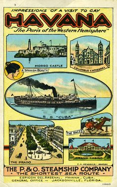 n the 1950s, you could cruise from Miami to Havana, Cuba for $42.00 per person aboard the S.S. Florida. This fare included all transportation, two nights aboard ship, a day in Havana and all meals.