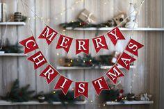 Merry Christmas Banner,  Christmas Garland, Burlap Banner, Burlap Bunting, Rustic Christmas Garland, Christmas Decor Merry Christmas Bunting                                                                                                                                                                                 More