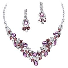 Elegant Lavender Purple W Eggplant Purple Accents V-Shaped Garland Prom Bridesmaid Evening Necklace Set K5