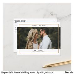 Elegant Gold Frame Wedding Photo Save The Date Announcement Postcard Modern Save The Dates, Wedding Save The Dates, Save The Date Cards, Wedding Frames, Wedding Photos, Wedding Ideas, Engagement Announcement Photos, First Photo