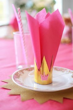 / Princess Party ideas gold and pink. - Shop your princess party items at: www. Pink Princess Party, Disney Princess Birthday, Shower Party, Baby Shower Parties, Aniversario Peppa Pig, Prince Party, Baby Party, Birthday Decorations, Princess Party Decorations
