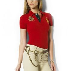 Ralph Lauren Classic Polo Logo Red Short Sleeved Pony Women http://www.