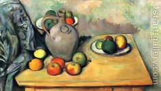 Paul Cezanne:Still life, jug and fruits on a table