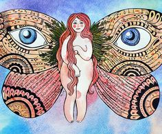 Samarskaya Milana #women #girl #bodypositive #illustration #watercolor #insect #butterfly #moth  #eye
