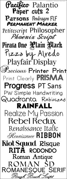 Fonts P-R  ~~ {36 Free fonts w/ no links ~~ I don't like to pin font lists that don't have links, have misnamed font and fonts I can't find! This post has all of those things, but it also has a LOT of GOOD, commercial free fonts... so I'm pinning it! Misspelled/named fonts: Palatino, Pizza by Alfredo and Progress Ordin.}